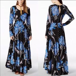 Free people blue floral  first kiss maxi dress L